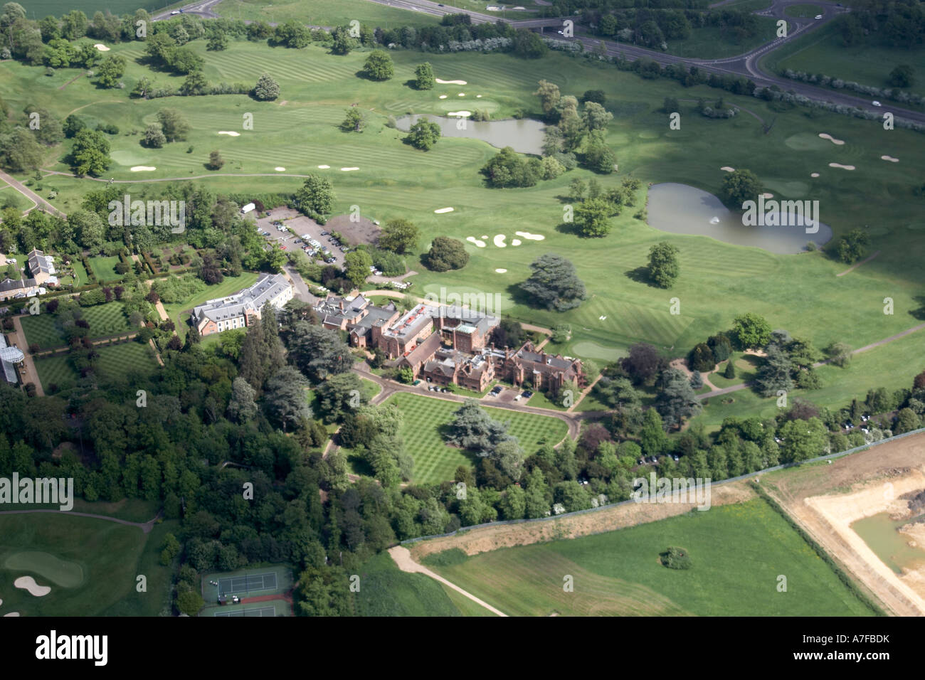 High Level Oblique Aerial View North East Of Marriott Hanbury Manor Hotel Country Club Ware Hertfordshire SG12 England UK