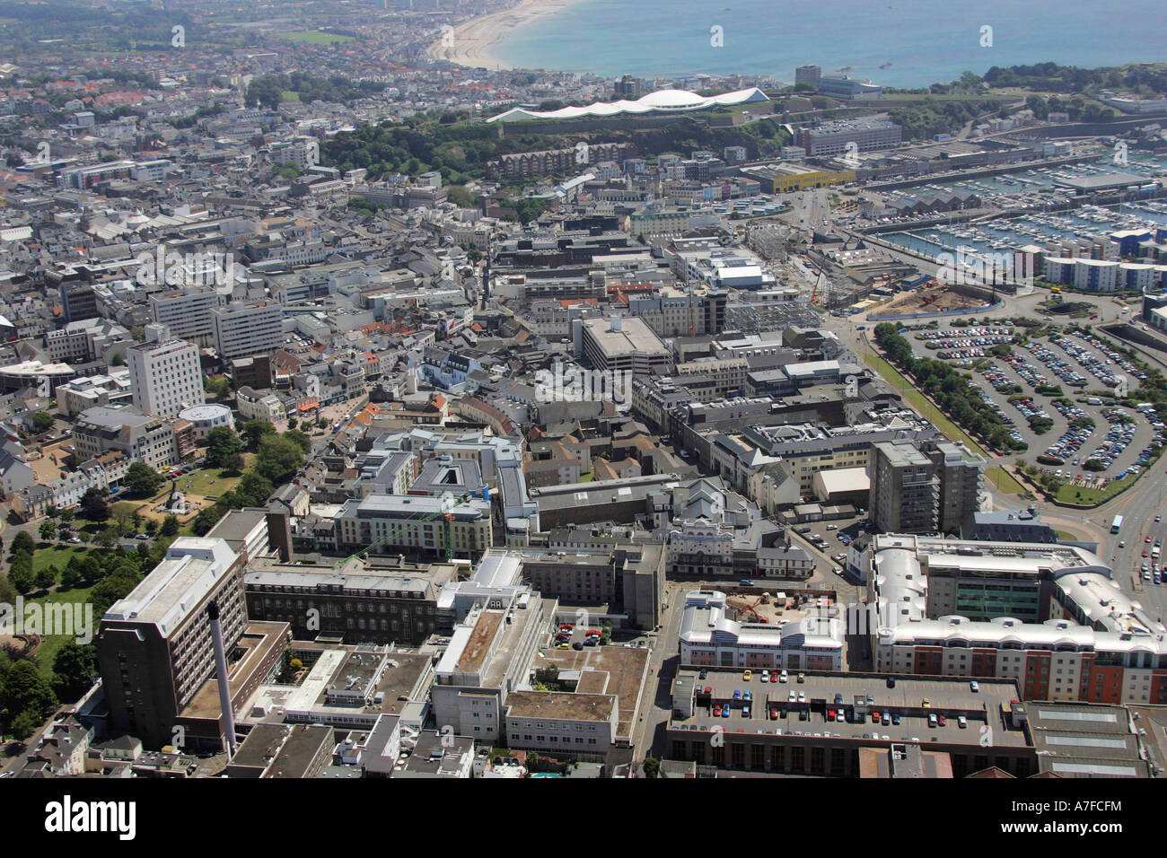 Aerial view of st helier capital town of jersey channel for Garden design jersey channel islands