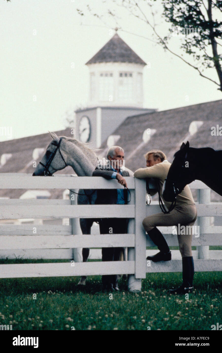 Two men in riding clothing standing with horses and talking over a white wooden fence - Stock Image
