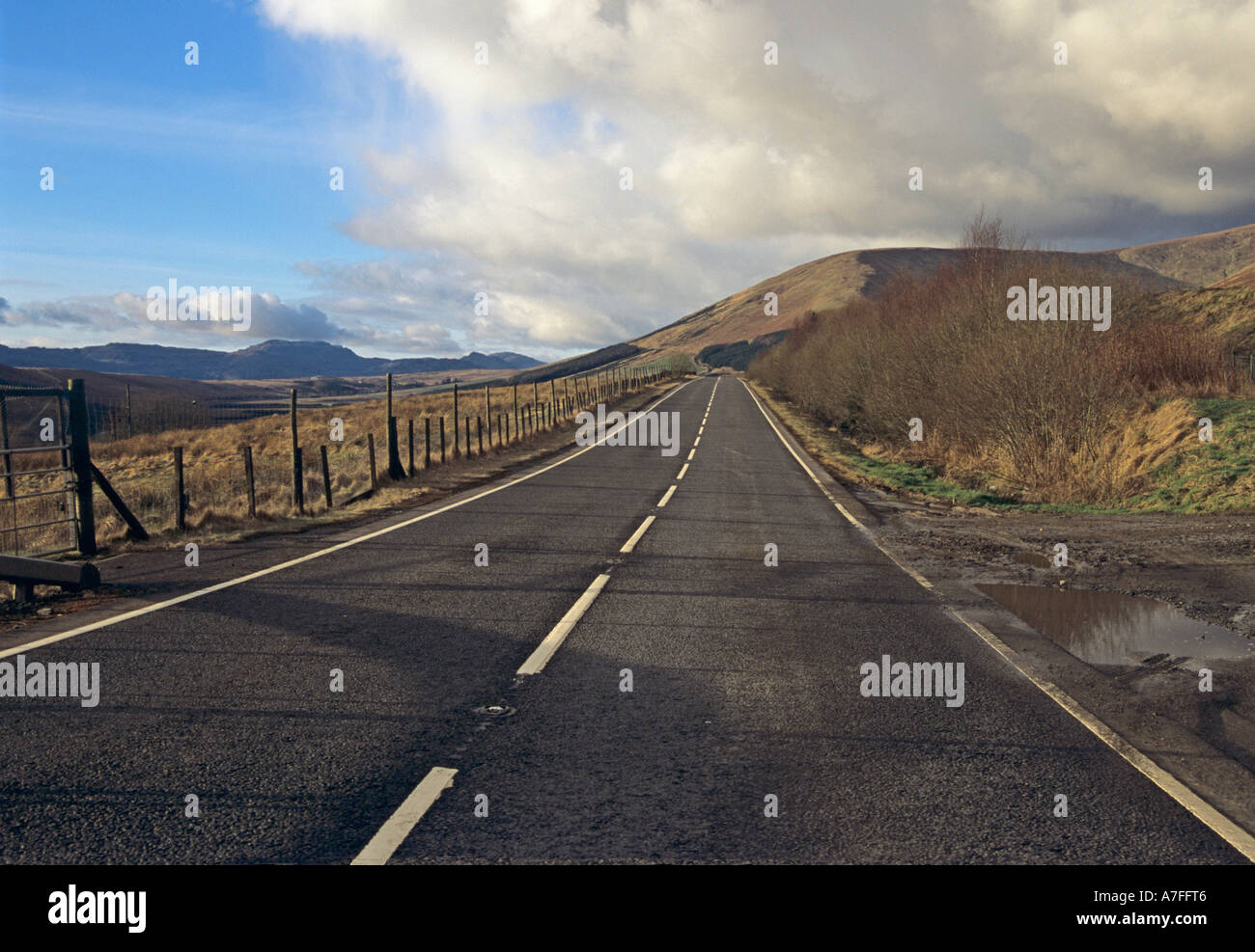 GARELOCHHEAD ARGYLL SCOTLAND UK February A long empty stretch of road above Gare Loch - Stock Image