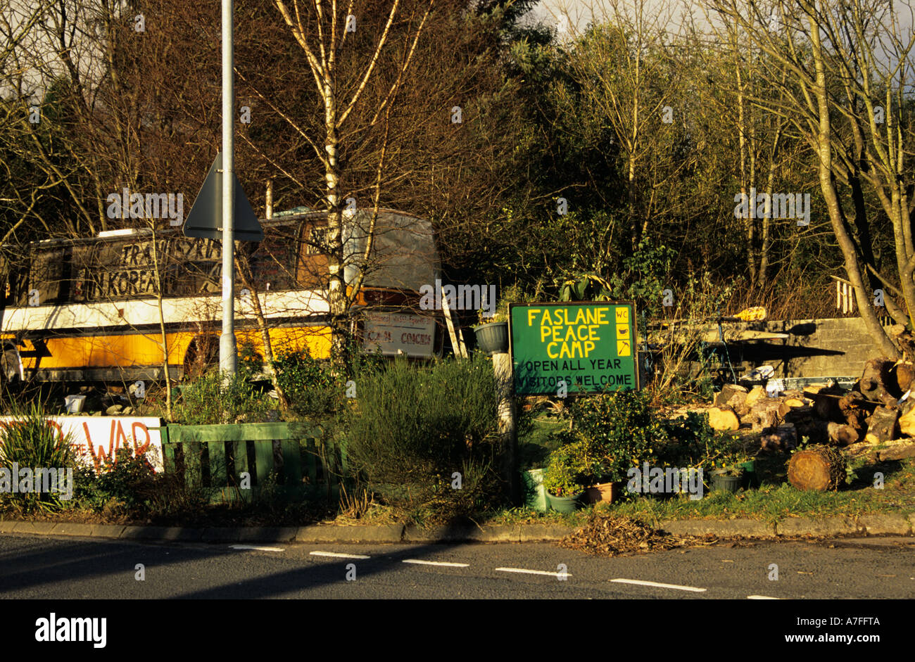 GARELOCHHEAD ARGYLL SCOTLAND UK February The Faslane Peace Camp where  people protesting against Britain's Nuclear deterrent - Stock Image