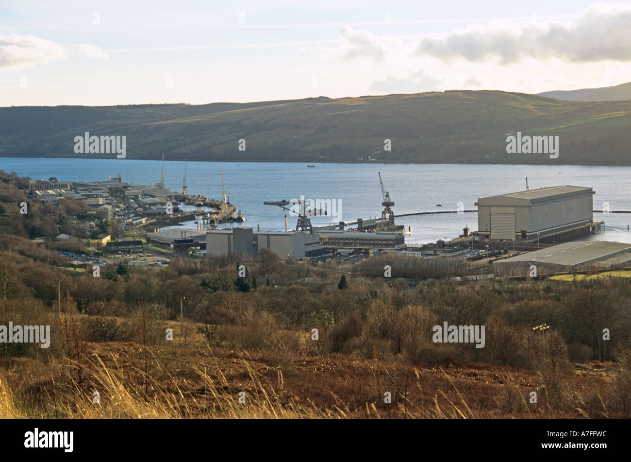GARELOCHHEAD ARGYLL SCOTLAND UK February Looking down on HM Naval Base Clyde at Faslane Port Royal Navy's main presence in Scotland home of submarine - Stock Image