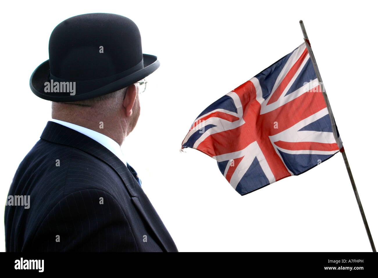 Icon British symbols of the Bowler hat and Union flag. - Stock Image