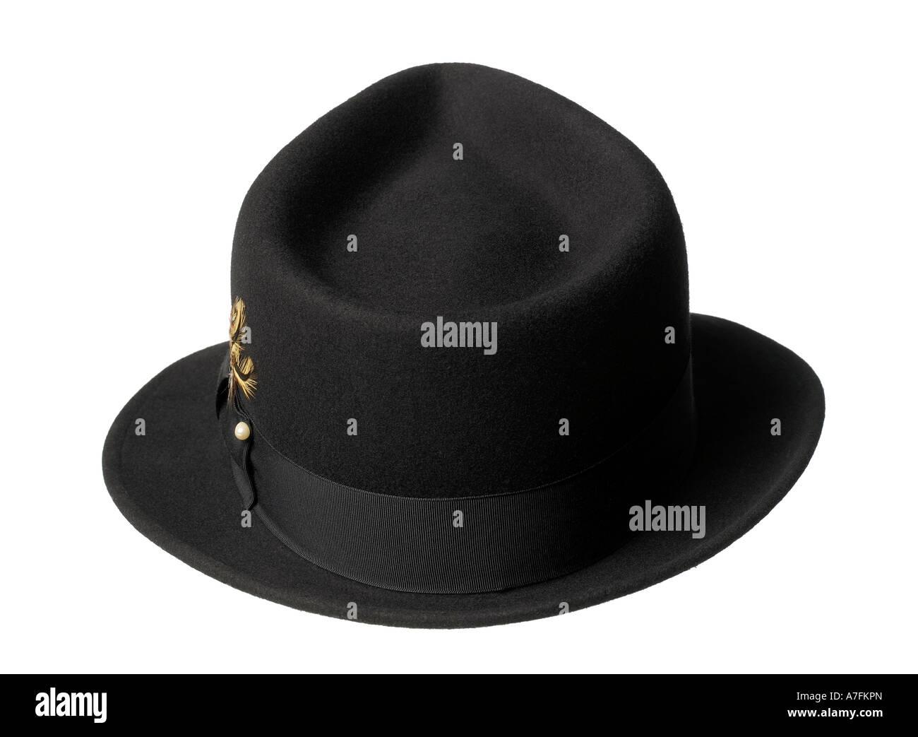 Hat Men's Black Felt Fedora Accessory - Stock Image
