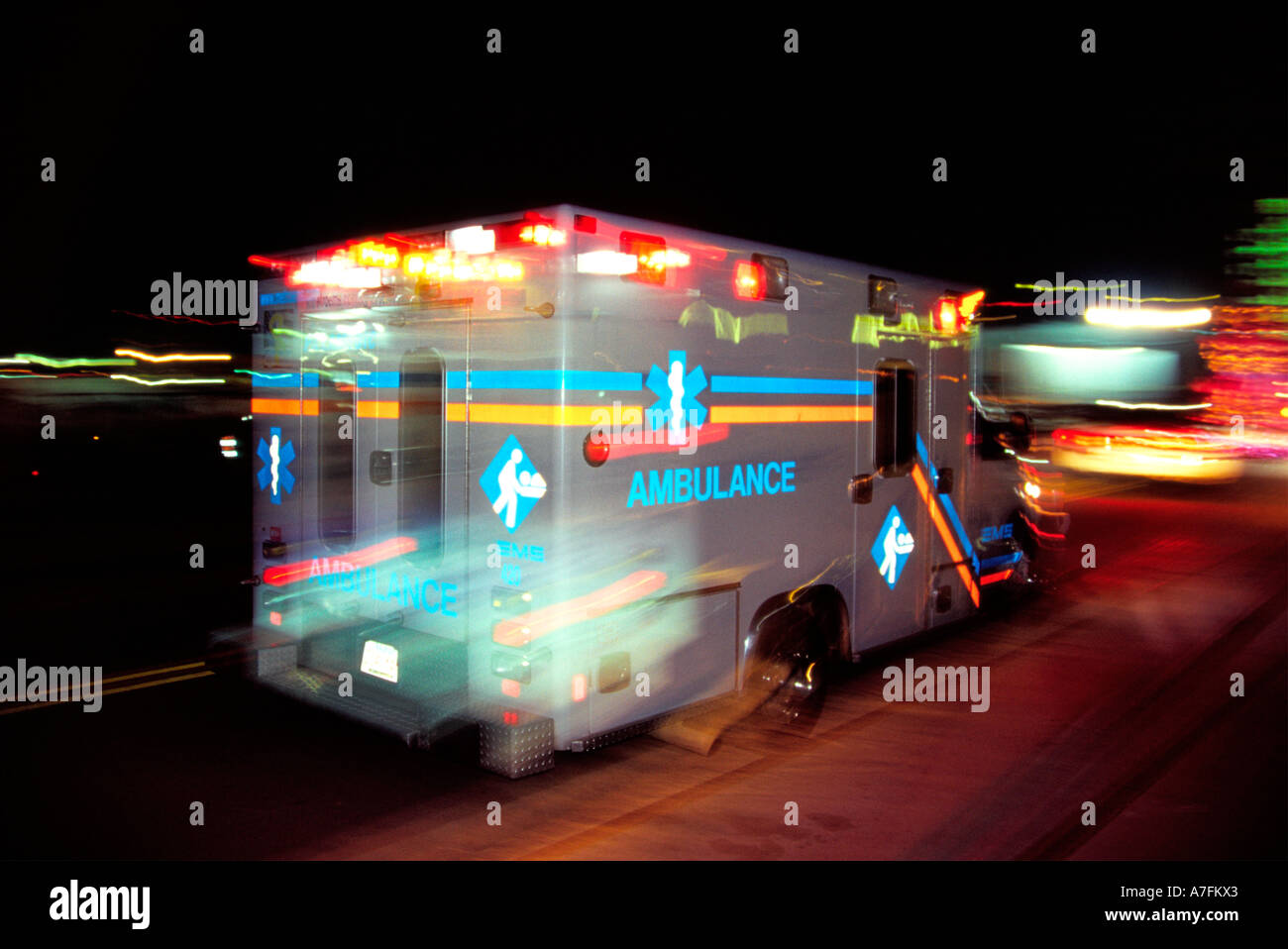 City Night   Ambulance Responds, Racing To The Scene With Lights Flashing  And Sirens Sounding Awesome Design