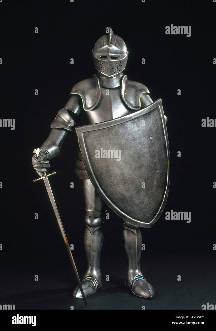 Knight in shiny armor vertical - Stock Image