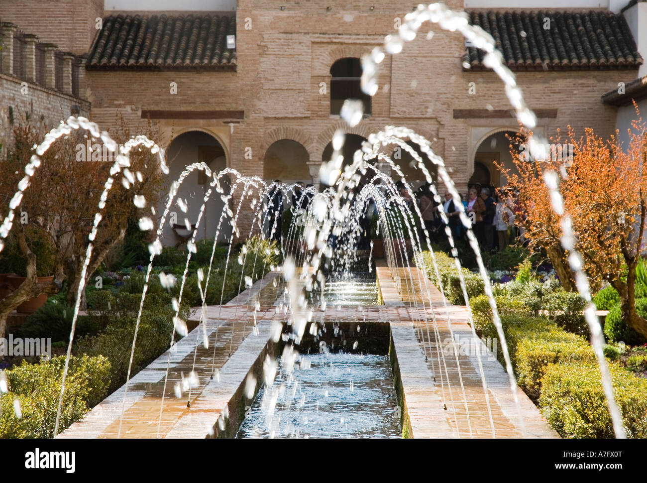 Water Fountains In The Patio De Le Azequia Alhambra Granada Spain Stock Photo Alamy