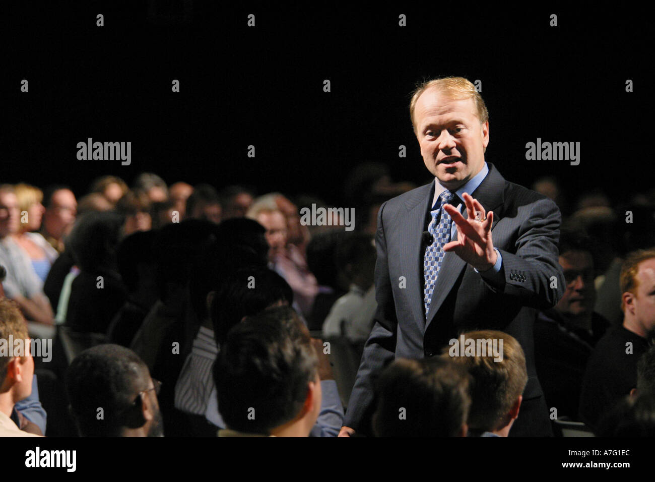 Cisco President and CEO John Chambers presenting at the 2003 Netword Interop show in Las Vegas Nevada USA - Stock Image