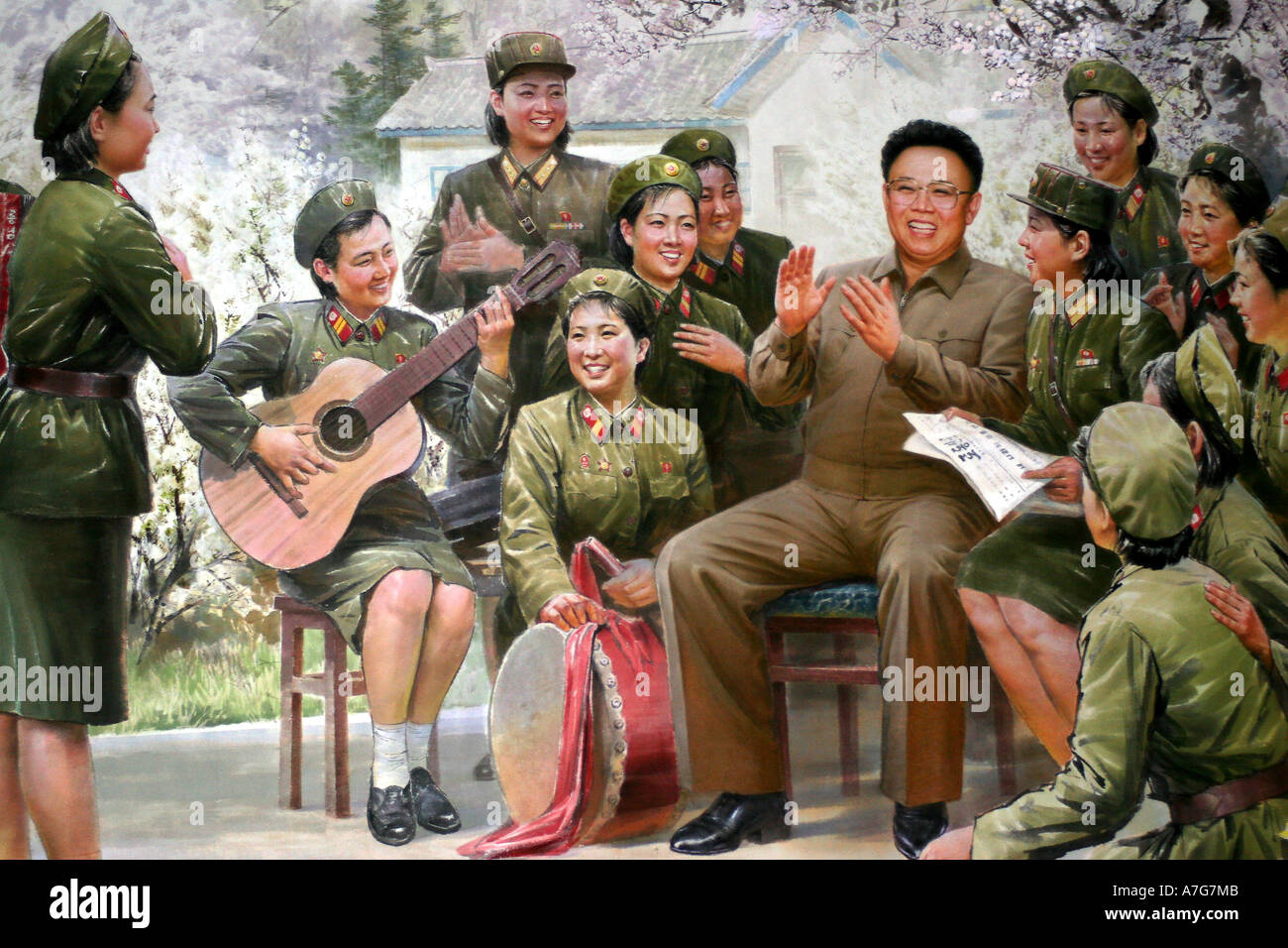 Painting in the Korean Art Museum showing Kim Il Sung and Kim Jong Il with their armed forces. - Stock Image