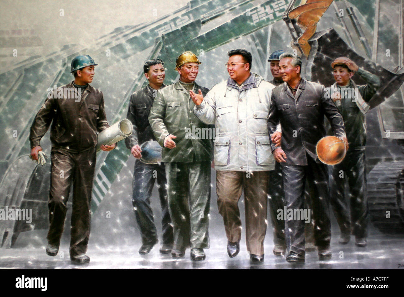 Painting in the Korean Art Museum of leader Kim Jong Il visiting his workers - Stock Image