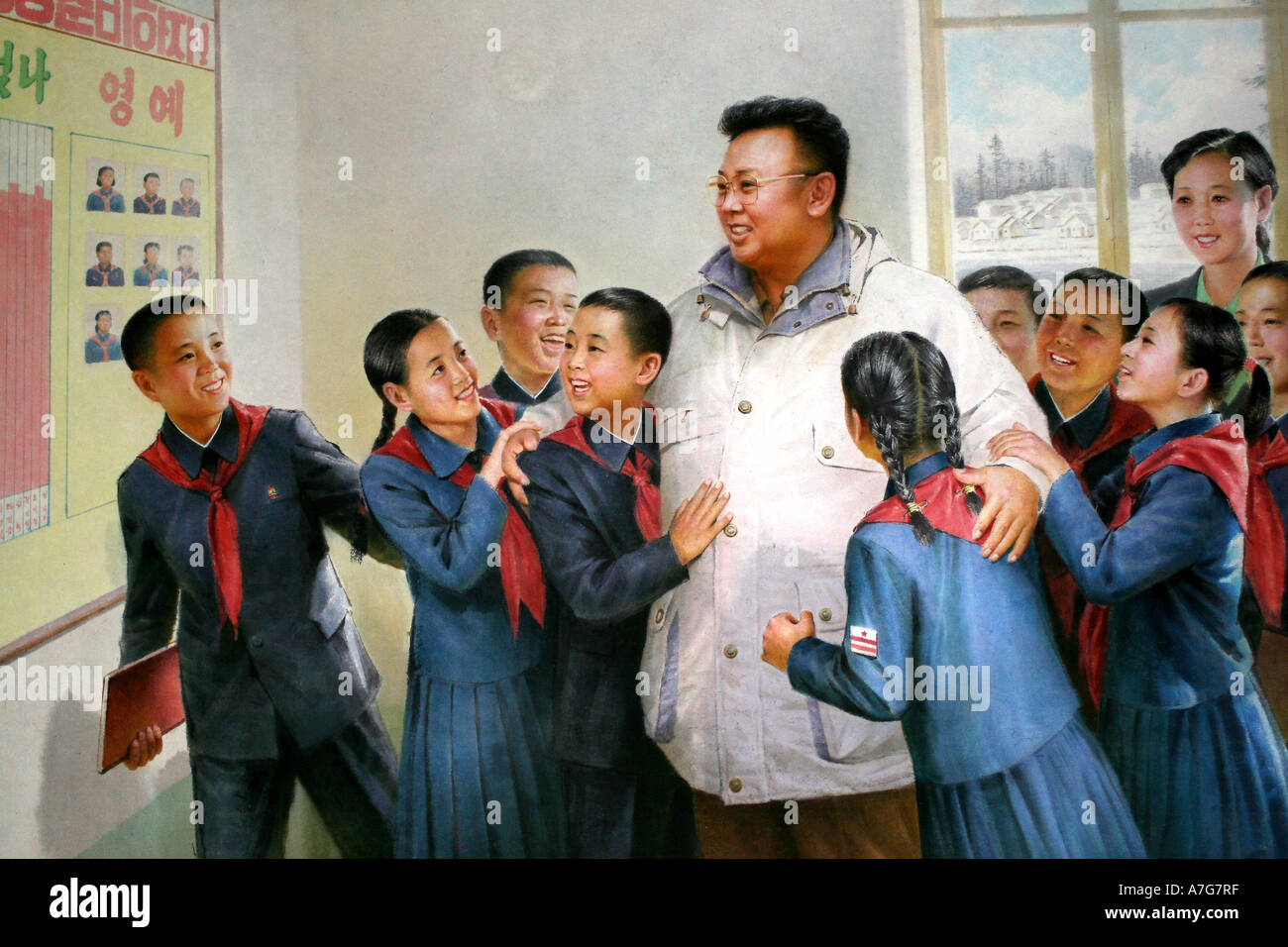 Painting in the Korean Art Museum of leader Kim Jong Il visiting children in a school - Stock Image
