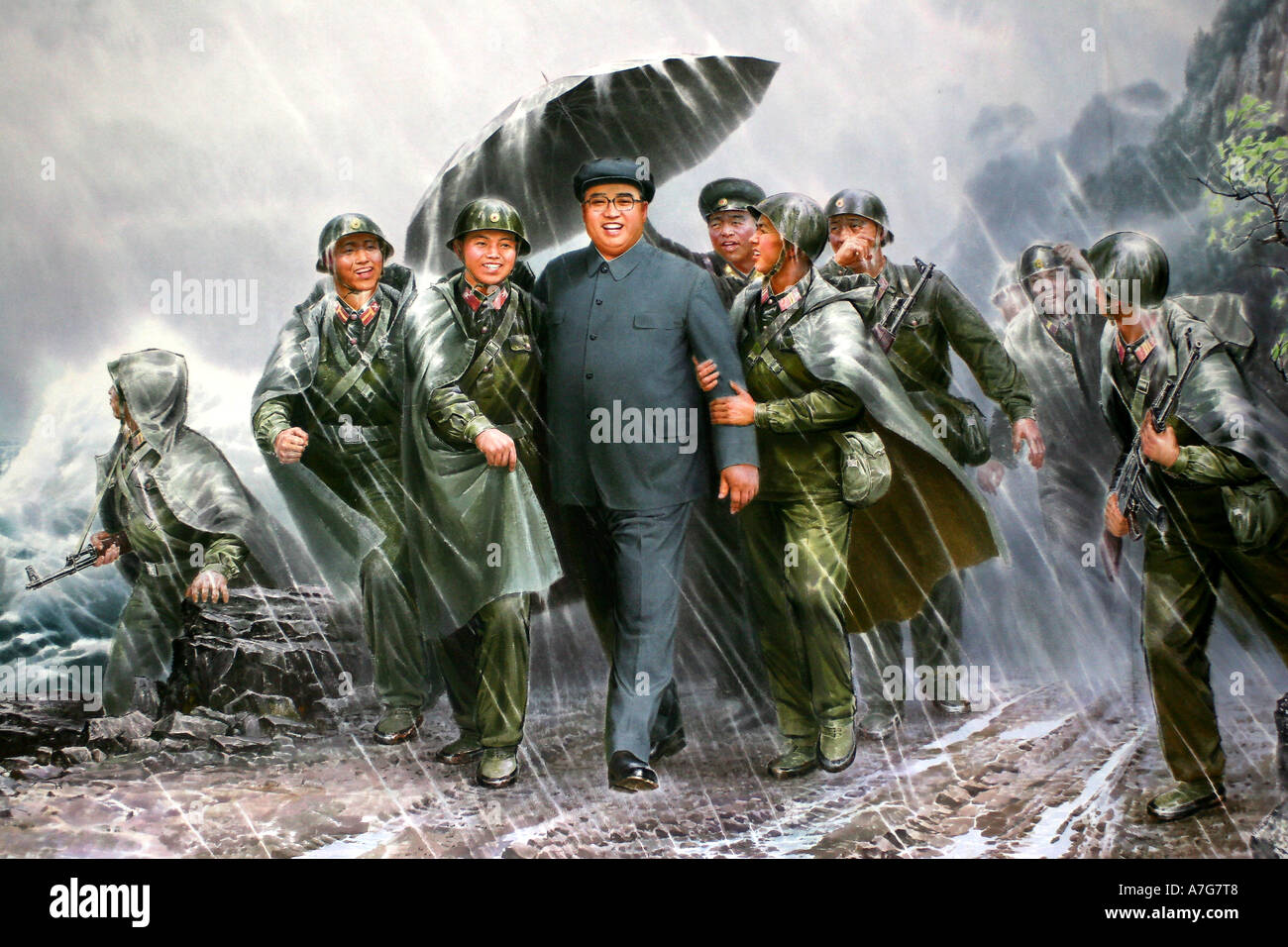 Painting in the Korean Art Museum of leader Kim Jong Il visiting his troops - Stock Image