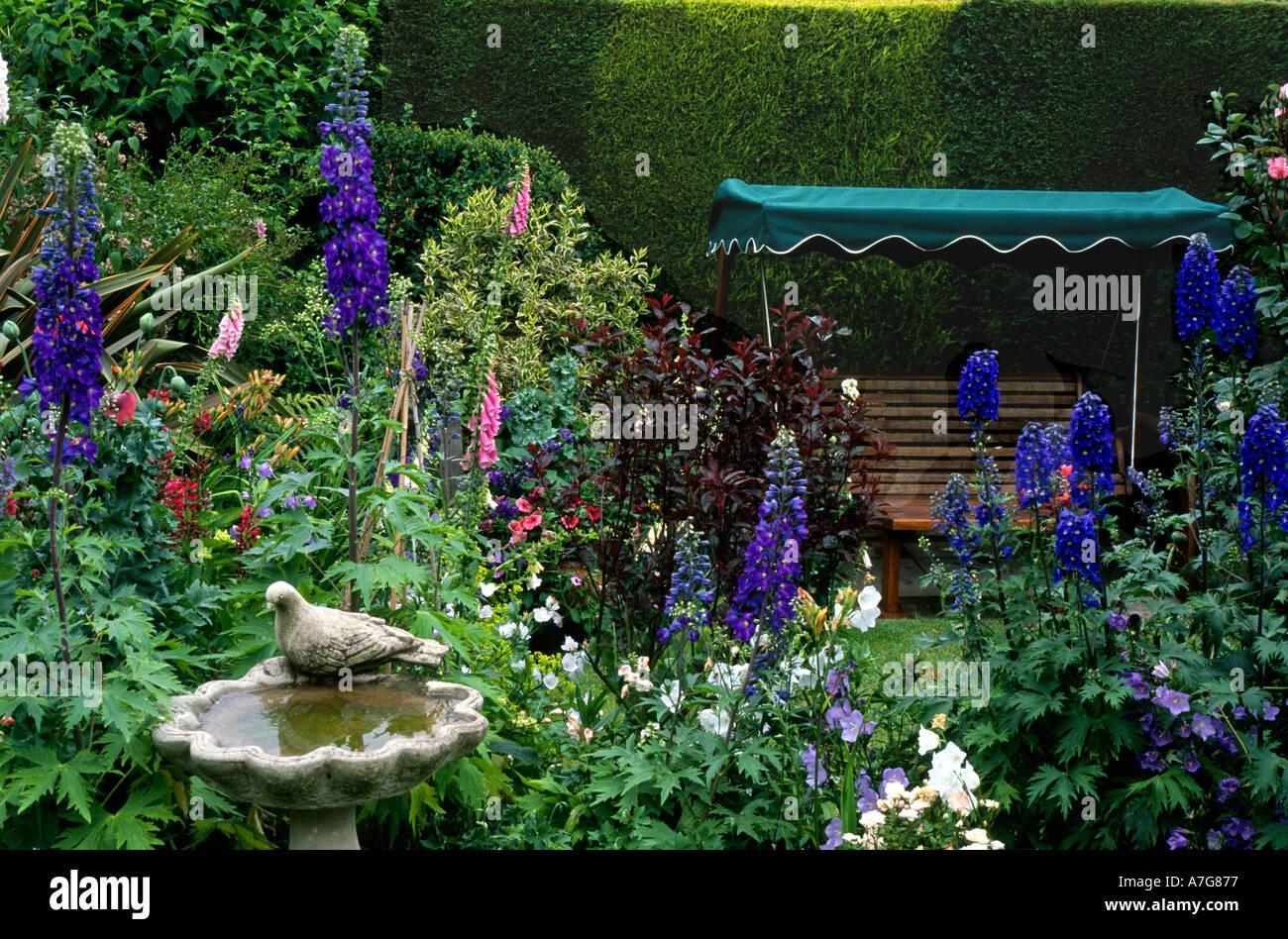 Cottage Garden With Bird Bath Seating