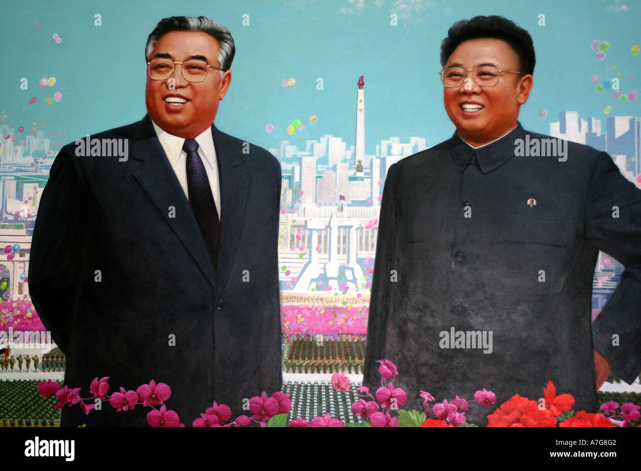 Painting in the Korean Art Museum of leader Kim Il Sung and Kim Jong Il stand in front of a backdrop of Pyongyang - Stock Image