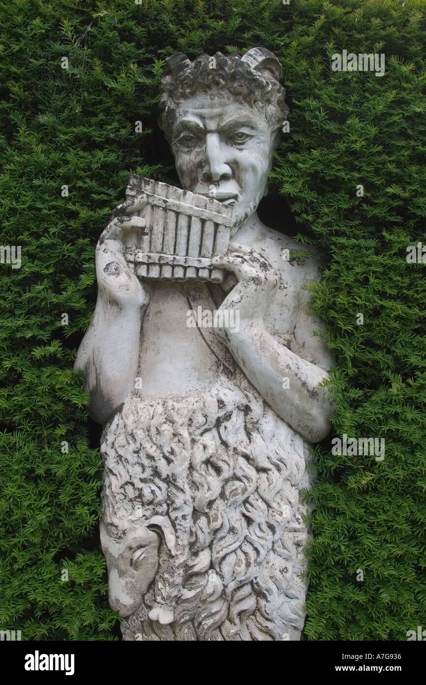Captivating Garden Statue Of Pan And Pipes At Anglesey Abbey Cambridge England GB UK