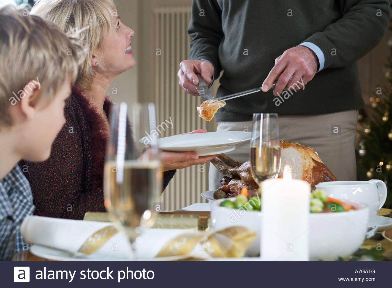 Dishing up the Christmas turkey Stock Photo