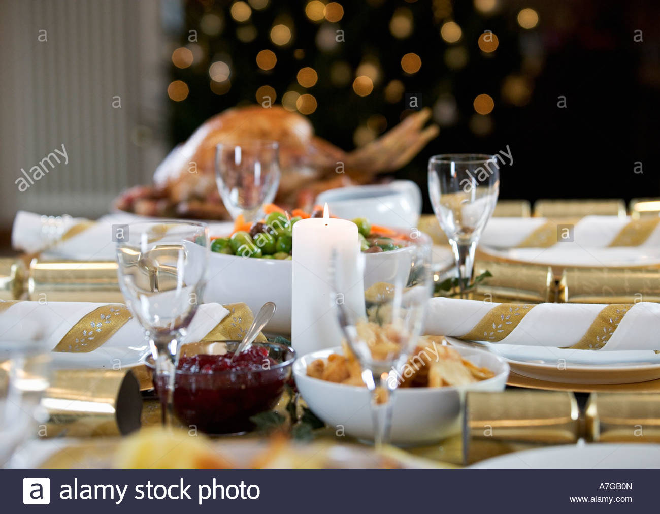 Christmas dinner on the table - Stock Image