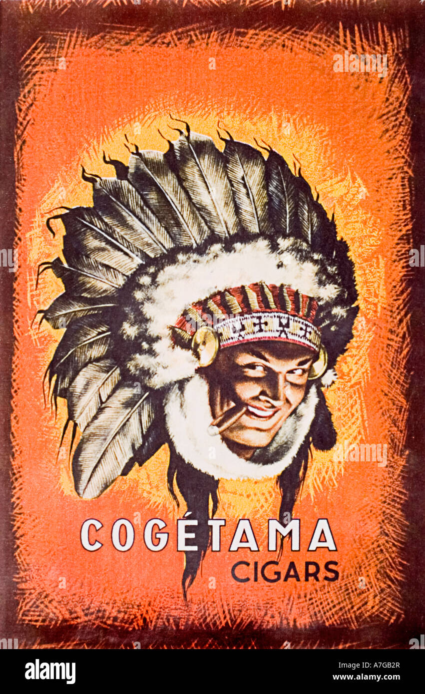 Advertisement for Cogétama cigars featuring man in native American head dress - Stock Image