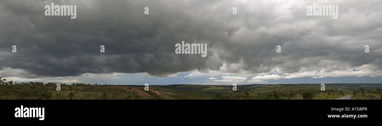 A 3 picture stitch panoramic of this mass of cumulonimbus clouds about 150 km north of Brasilia. Stock Photo
