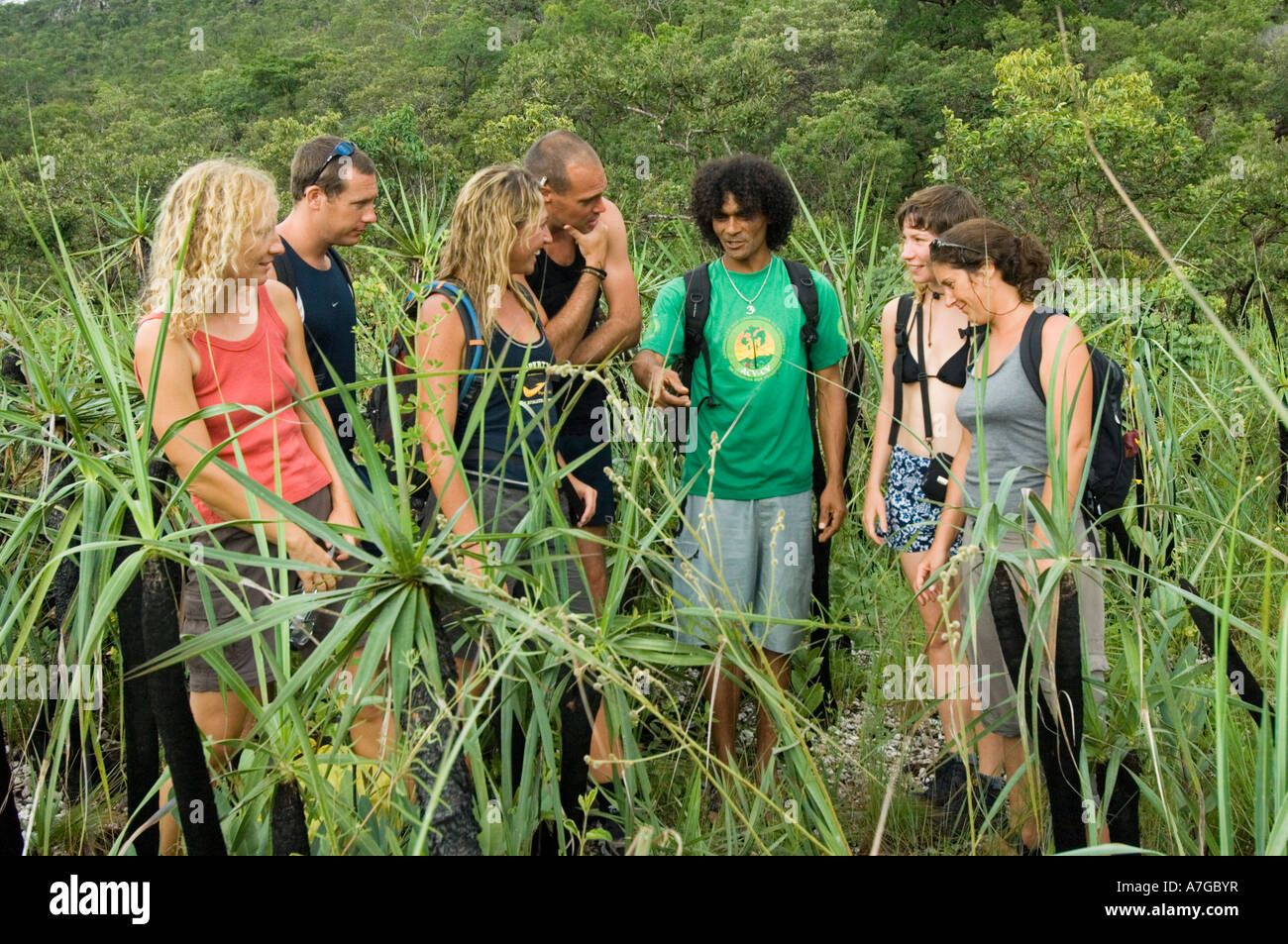A guide explains about the flora and fauna to group of tourists in The Chapada dos Veadeiros National Park of Brazil. - Stock Image