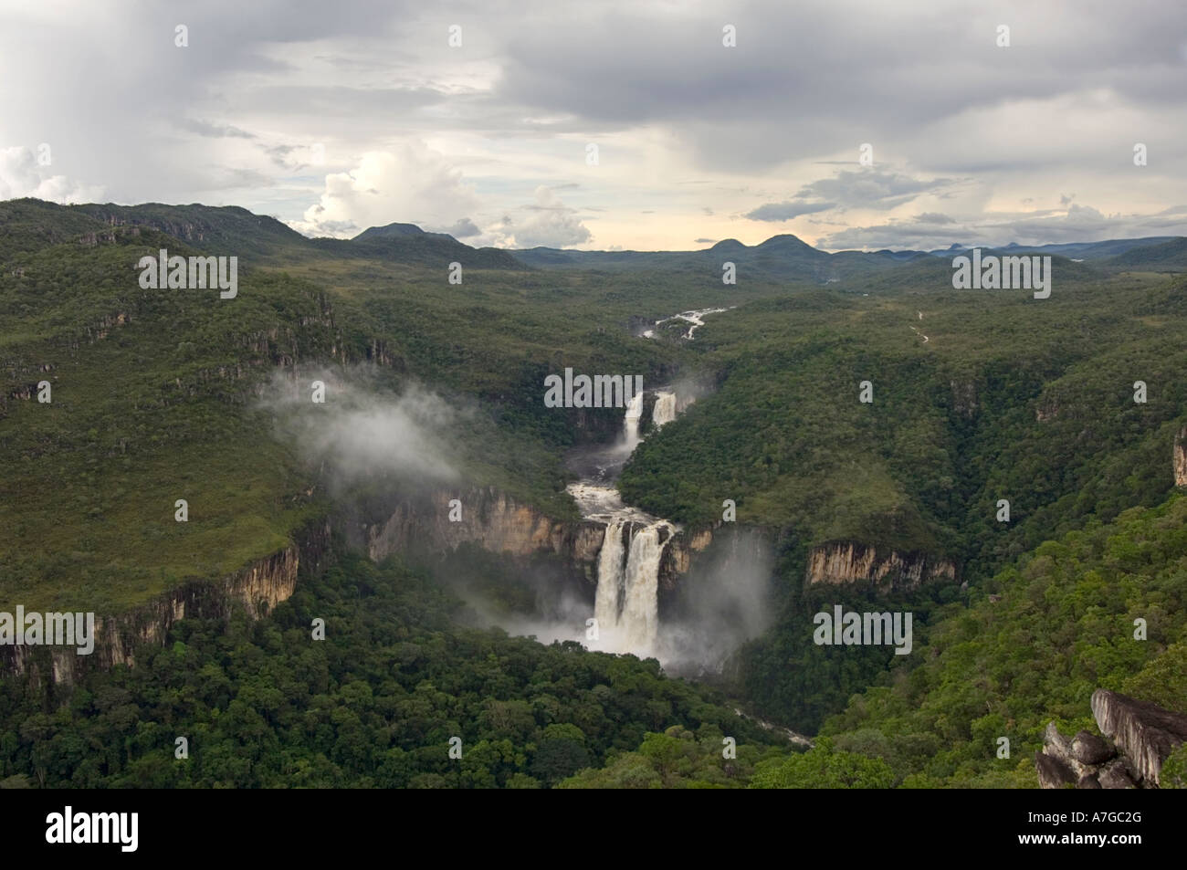 An aerial view of the two main waterfalls (the 120 and 80 meter) of The Chapada dos Veadeiros National Park in Brazil. - Stock Image