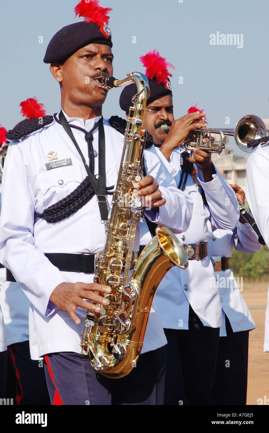 Police Band musicians play on 26th January Republic day parade, India - Stock Image