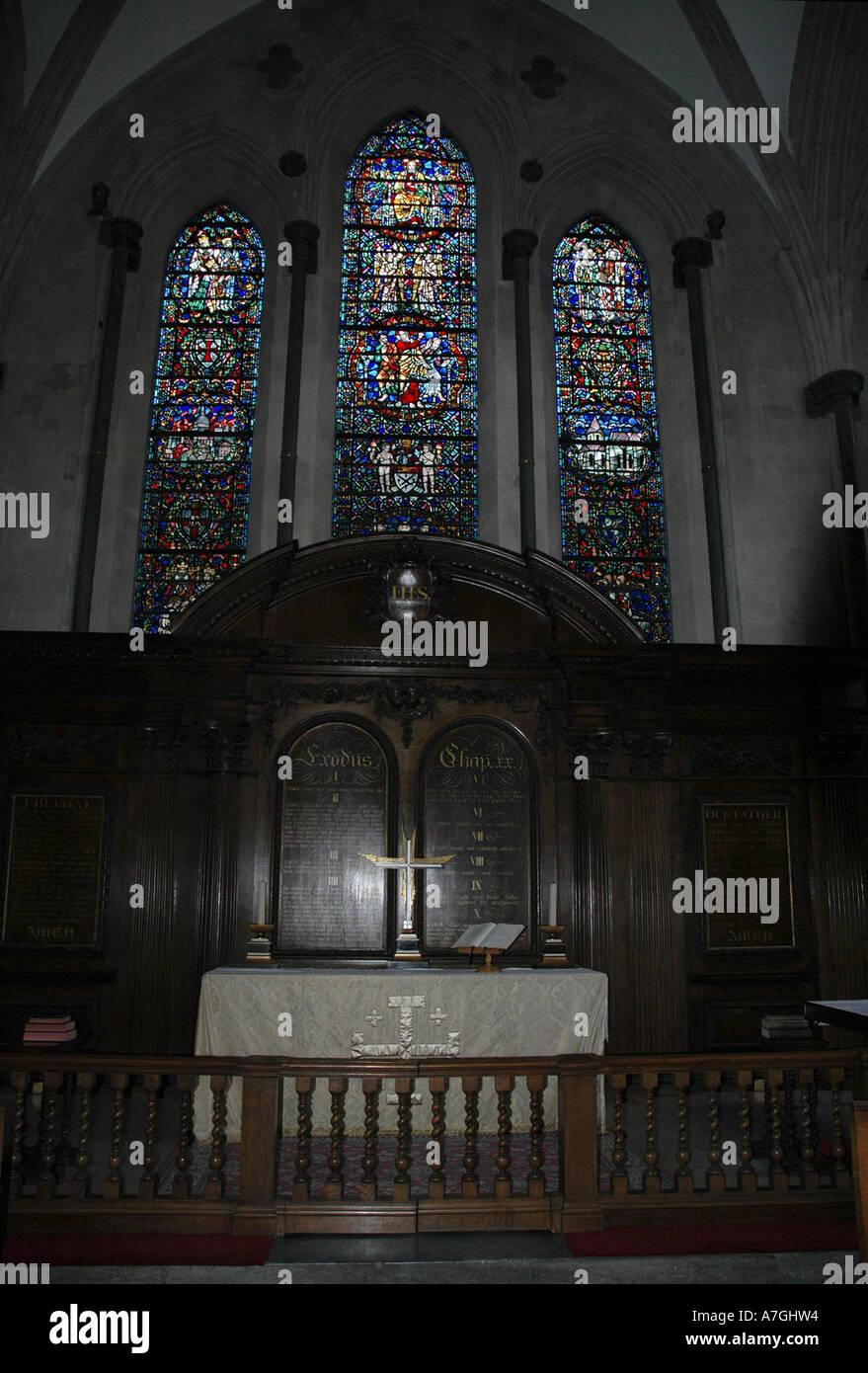 The Temple Church Altar, London, UK. - Stock Image