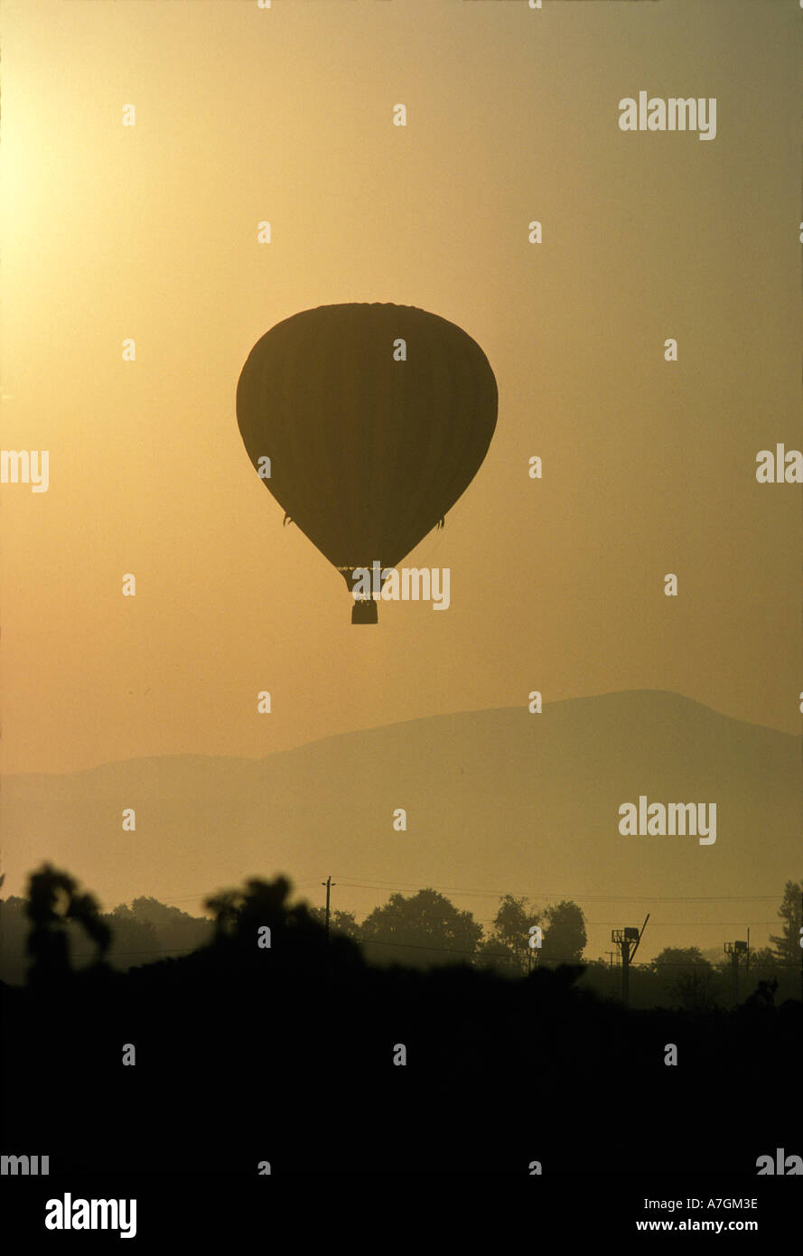 Hot air balloon lifting over Napa valley at sunrise. Stock Photo