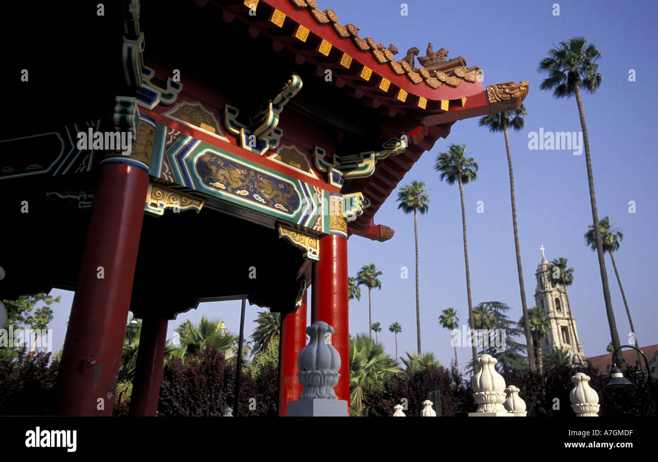 north america usa ca riverside chinese pavilion in park stock