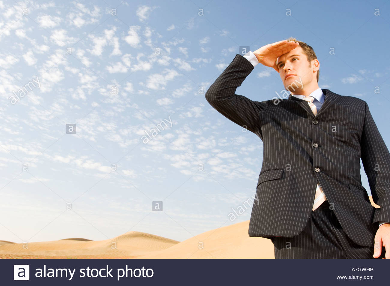 A man in a suit standing in a desert - Stock Image