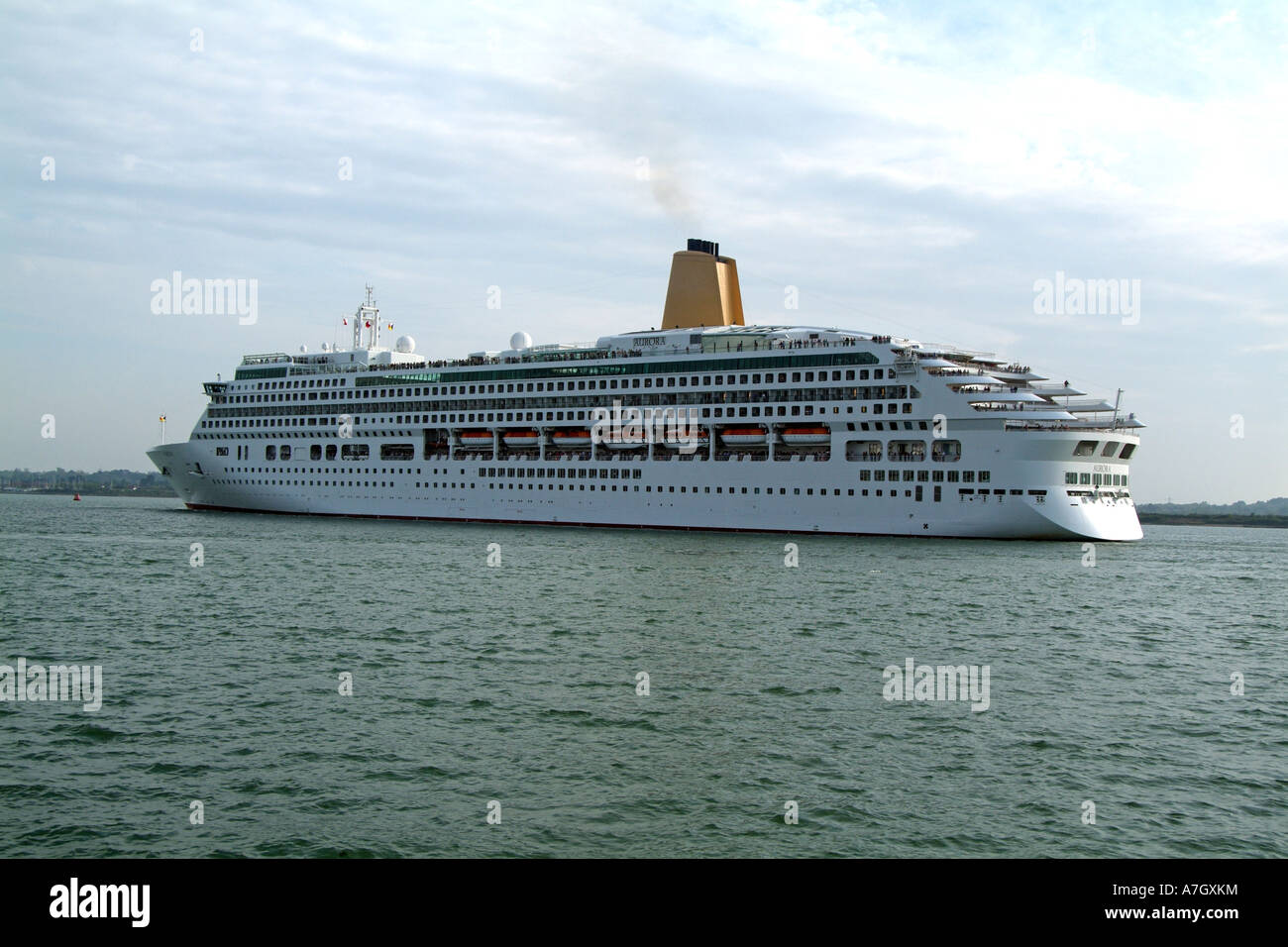 Aurora cruise ship leaving the Port of Southampton England UK England UK Southampton Water - Stock Image