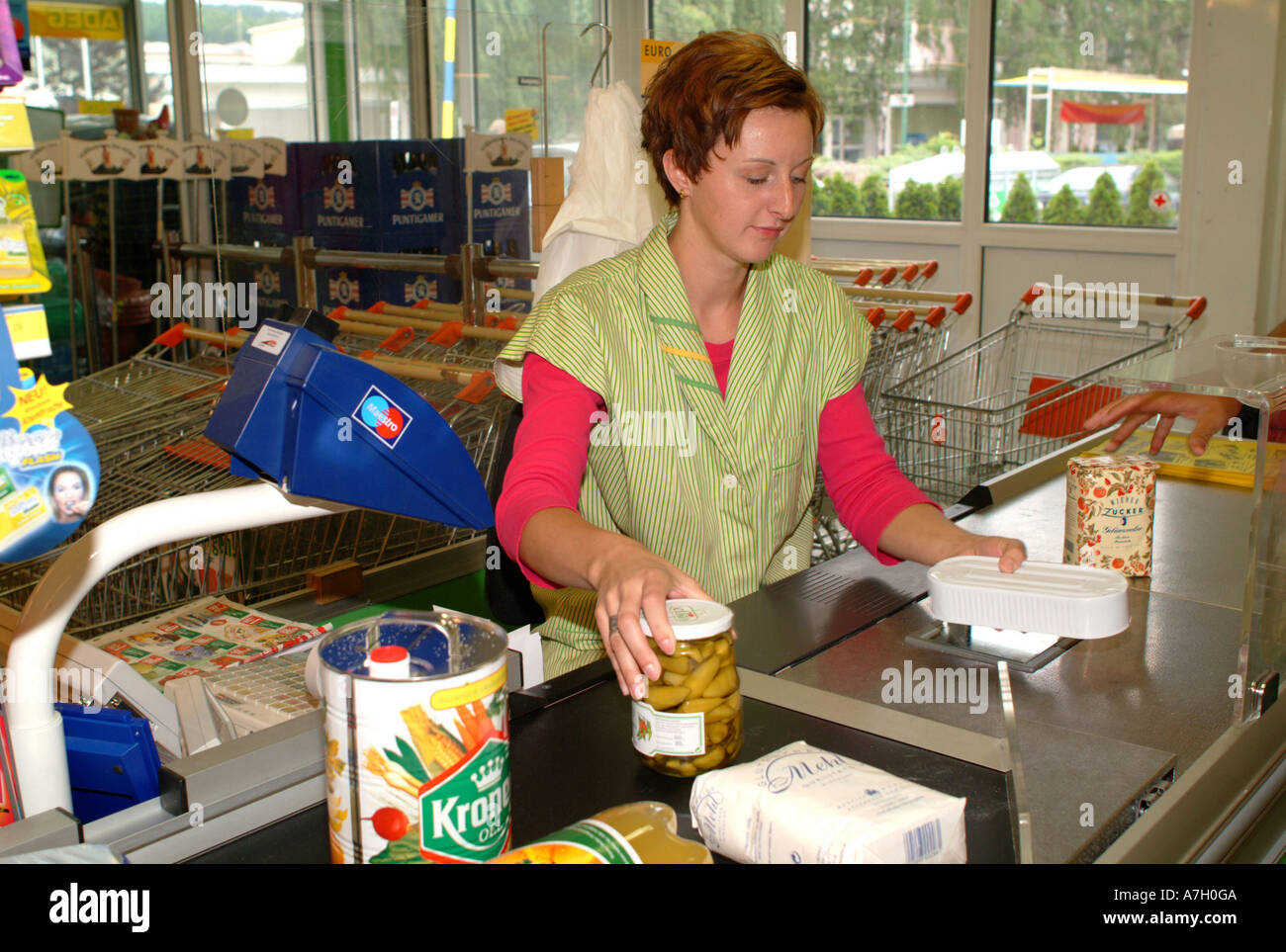 cashier in supermarket Stock Photo