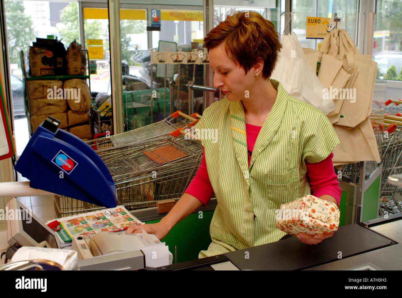 cashier in supermarket Stock Photo