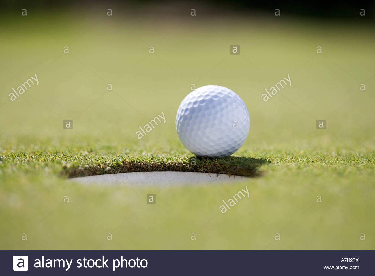 Close-up of a golf ball on the edge of a hole - Stock Image