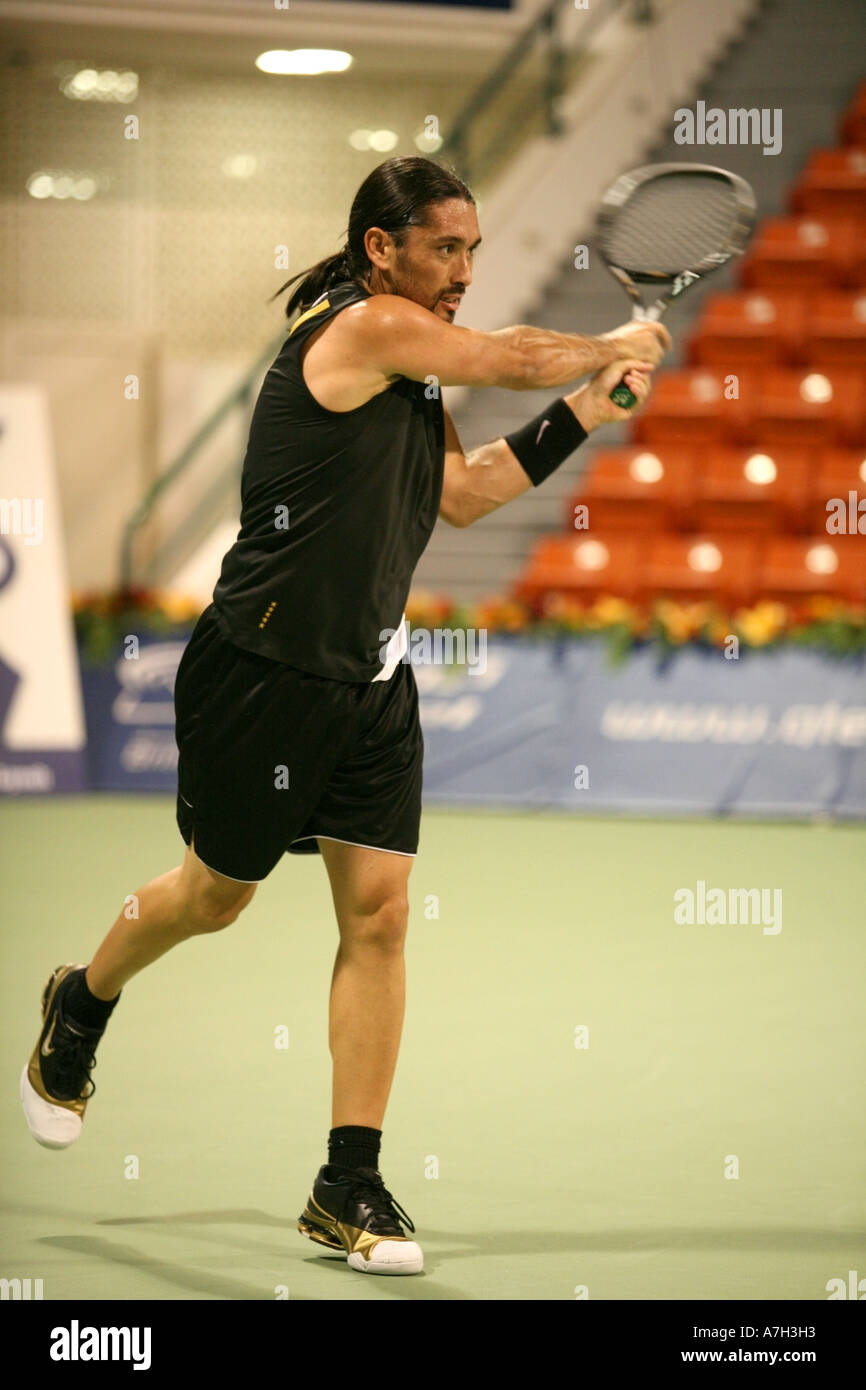 Marcelo Rios in action in Doha his winning comeback tournament after retiring from the ATP tour almost two years earlier - Stock Image