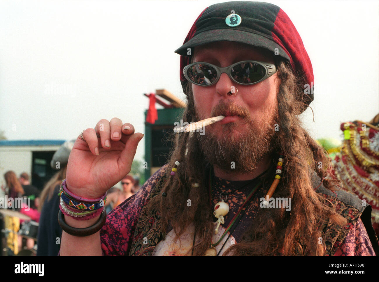 Smoking a large joint at annual Cannabis festival in London. Stock Photo