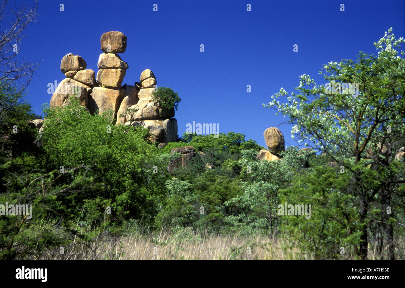 Balancing rocks and granite domes or inselburgs in the Matobo National Park Zimbabwe Africa - Stock Image