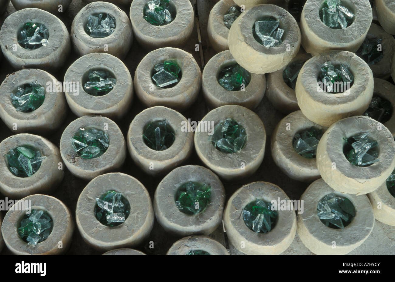 Cedi S Bead Factory Moulds Used For Baking Glass Beads Krobo Stock Photo Alamy