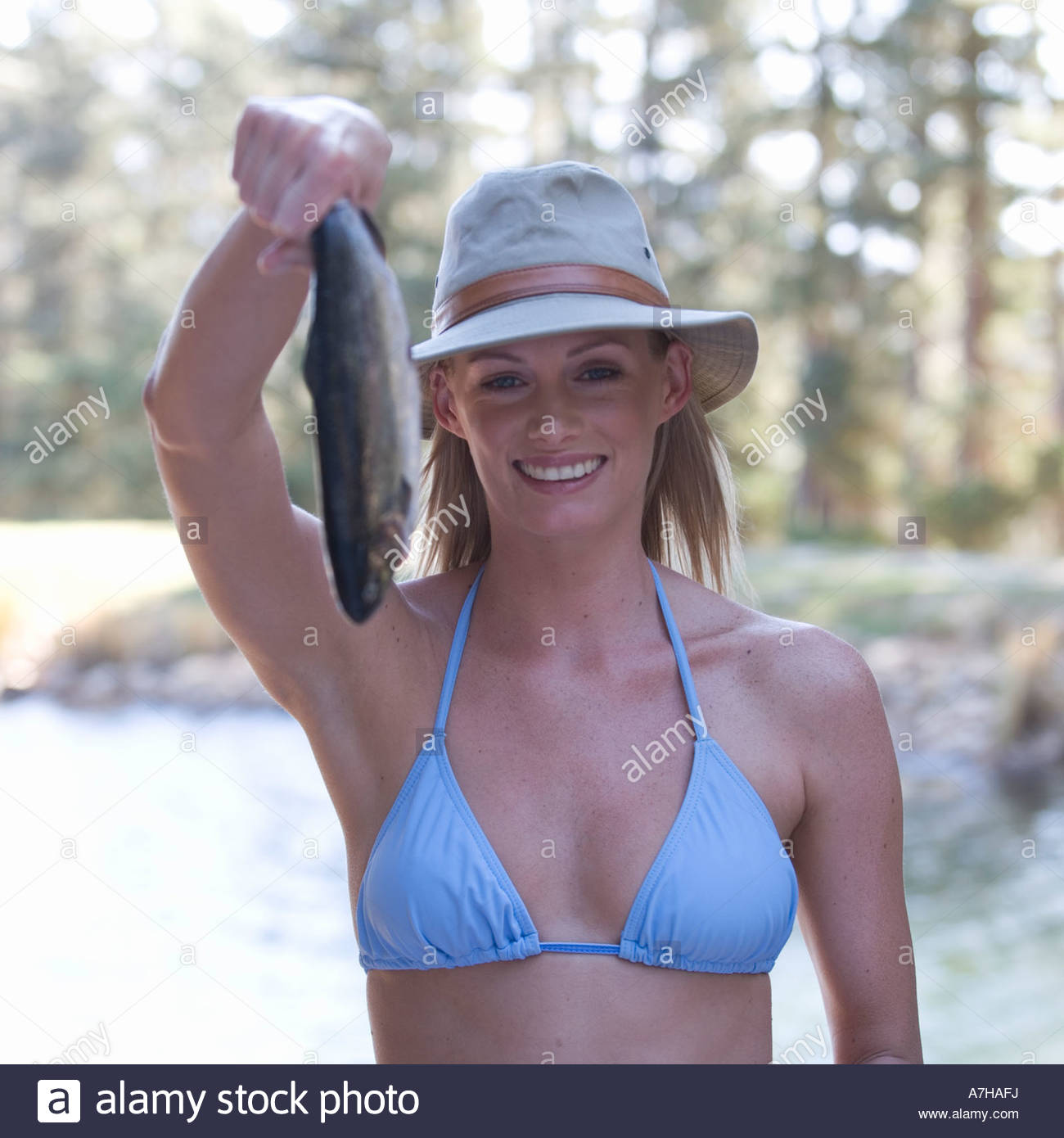 Bikini woman fishing picture