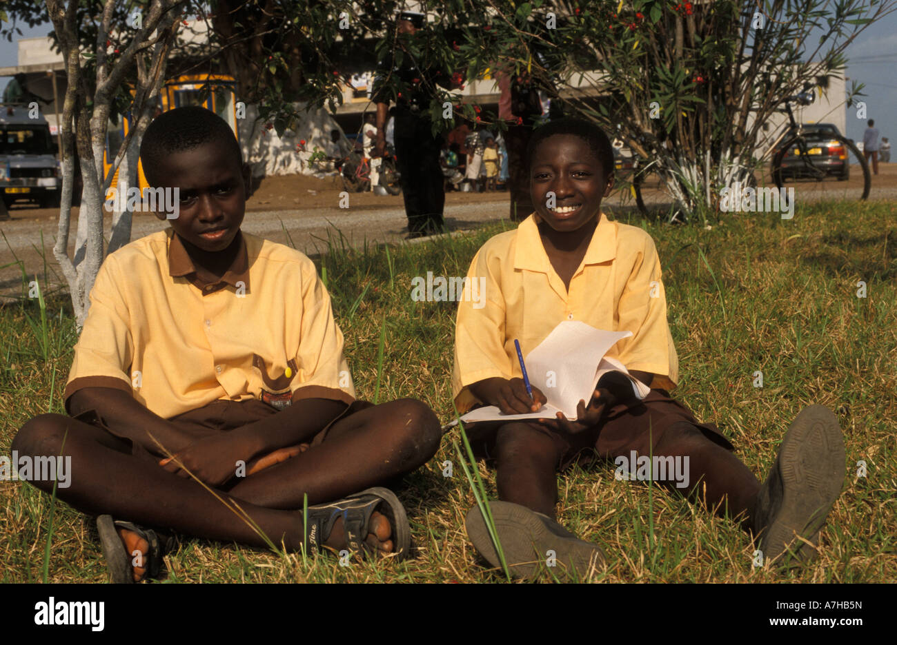 school children in school uniform, Ho, Volta region, Ghana - Stock Image
