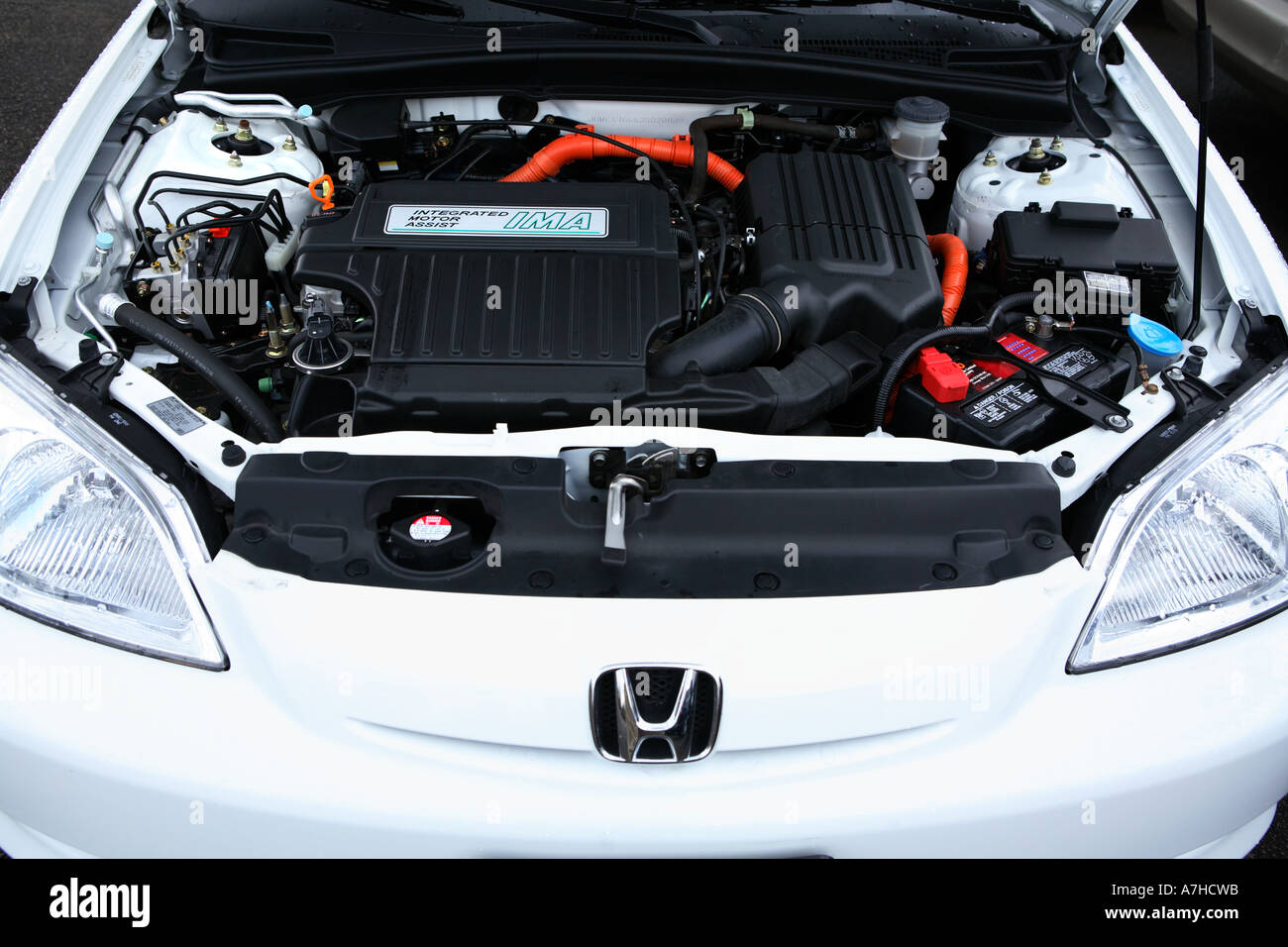 Under The Hood Of A 2003 Honda Civic Hybrid Car.   Stock Image