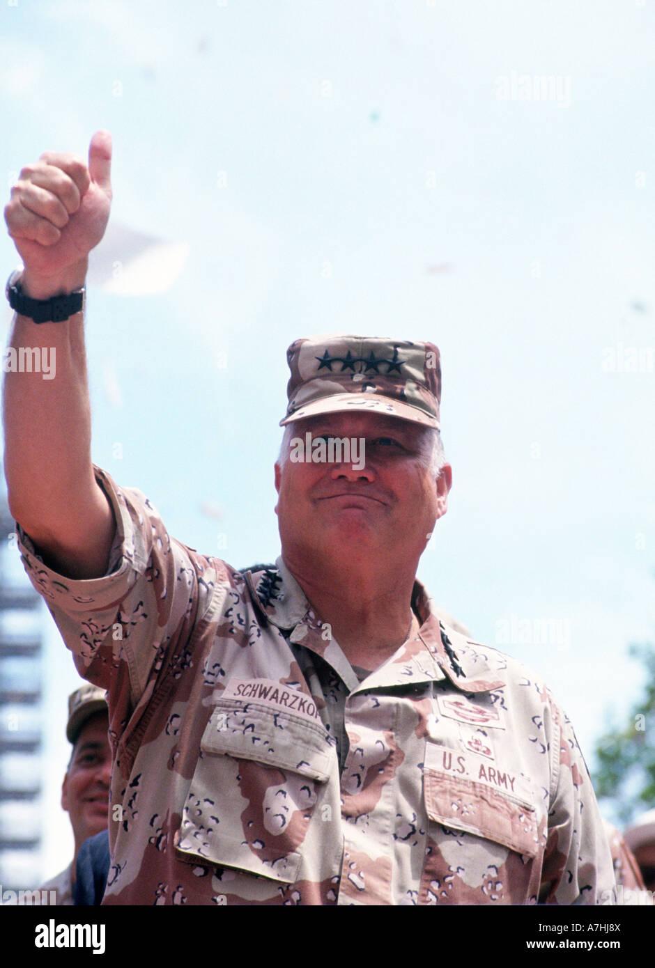 GENERAL NORMAN SCHWARZKOPF - US soldier  during Operation Desert Storm in 1991 - Stock Image