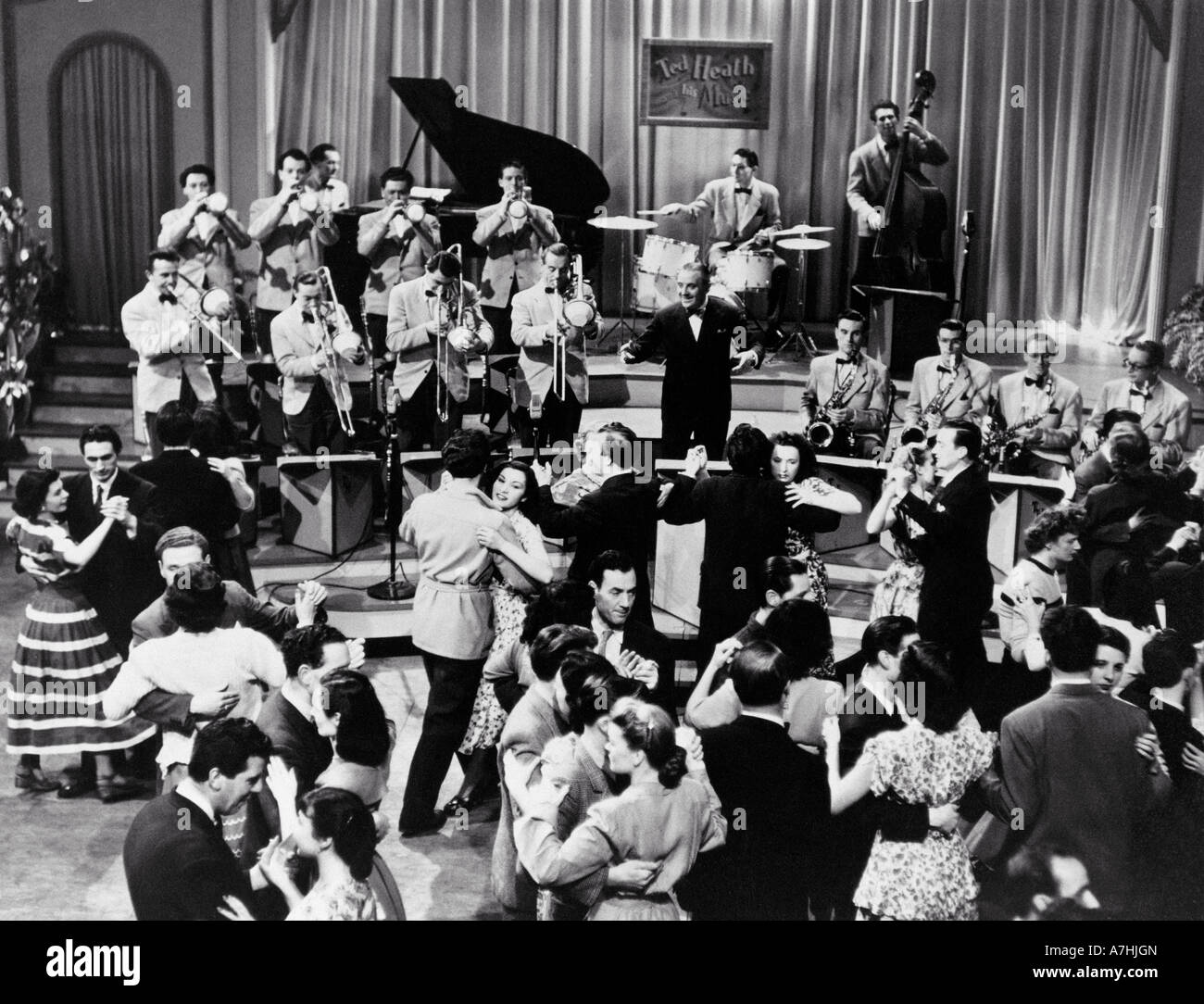 TED HEATH AND HIS ORCHESTRA - UK bandleader 1902 to 1969 seen here about 1955 - Stock Image