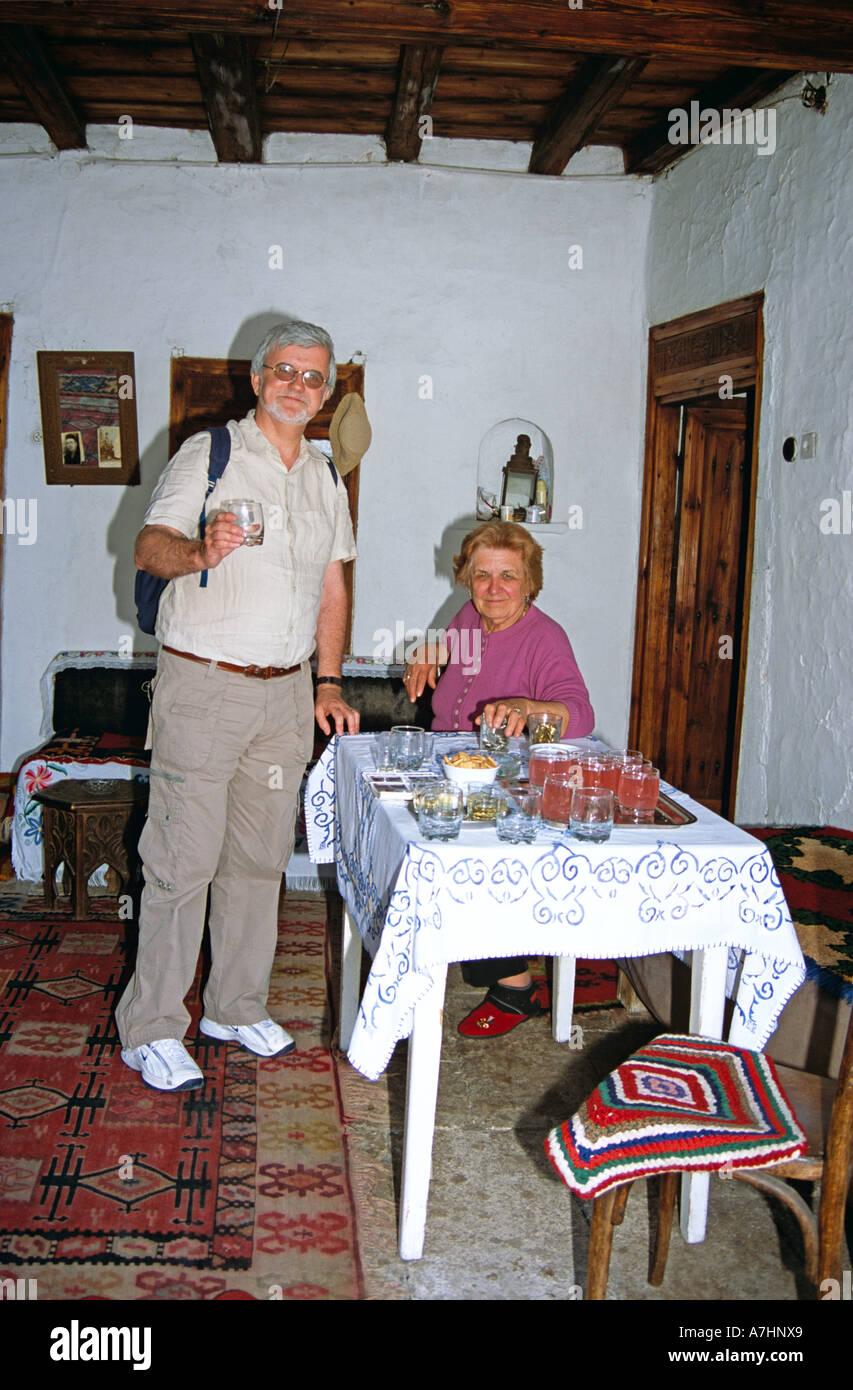 Kajtaz Turska Kula, Kajtaz Turkish House, tourist holding glass, Mostar, Bosnia Herzegovina, Former Yugoslavia - Stock Image