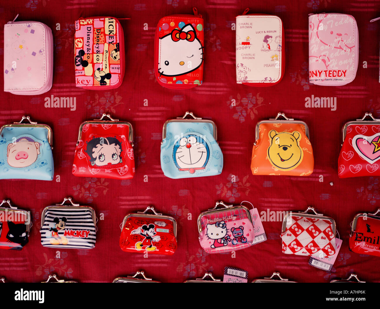 Small purses are sold on the streets on Shanghai - Stock Image