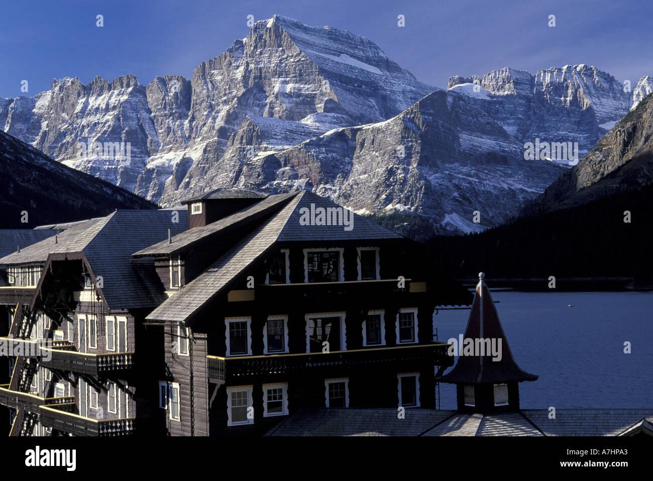 N.A., USA, Montana. Glacier National Park. Lodge at Many Glaciers area Stock Photo