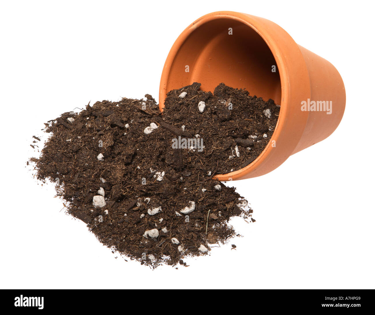 terra cotta pot with potting soil spilling out Stock Photo: 6769032 ...