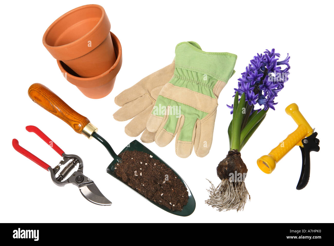 Gardening objects: Pruning shears, shovel with potting soil, terra cotta pots, gardening gloves, Hyacinth bulbs and spray nozzle - Stock Image