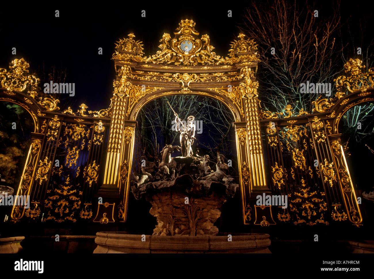 Neptune Fountain, Fontaine Neptune, Greek God, Olympian God, Place Stanislas, city of Nancy, Nancy, Lorraine, France, - Stock Image