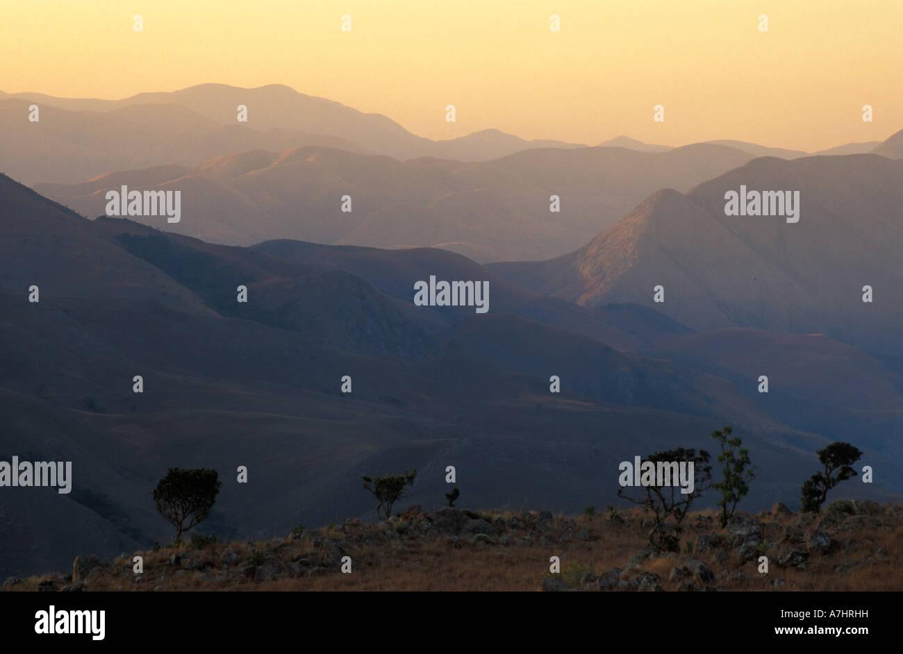 mountain scenery at dusk Malolotja Nature Reserve Swaziland Stock Photo